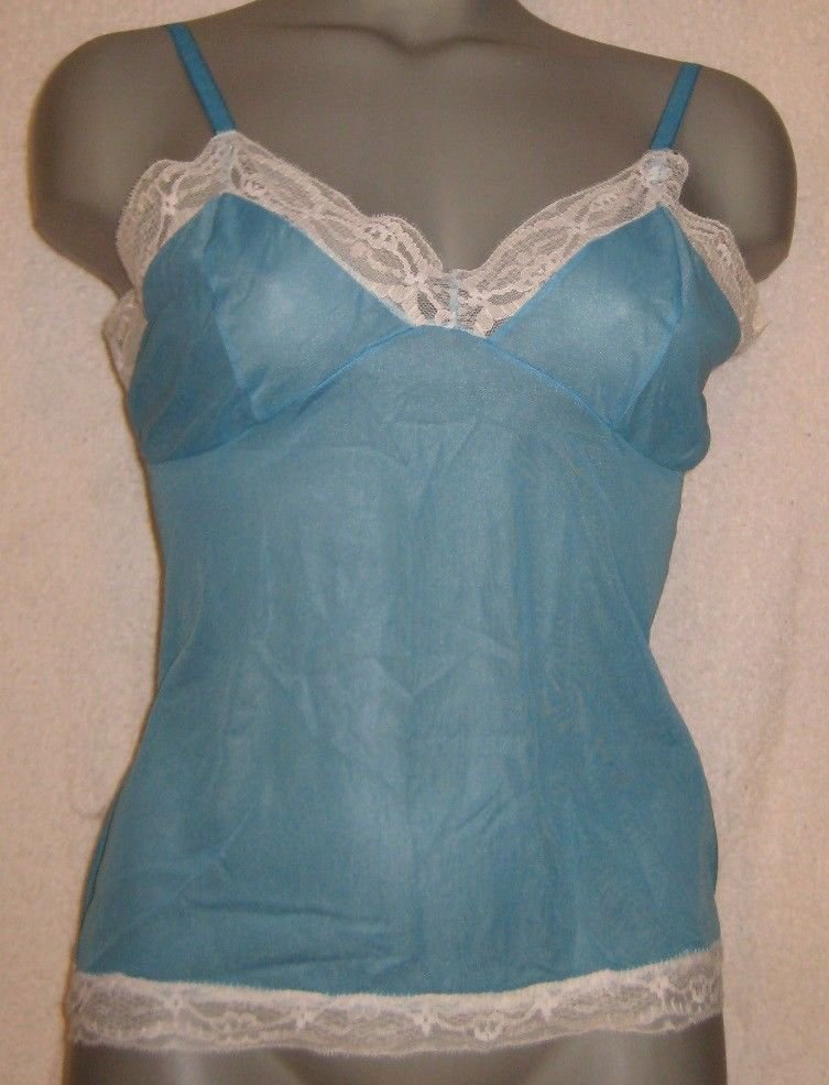 Vintage Nylon Camisole size small -blue  with lace