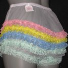 CD RETRO SHEER WHITE CAN CAN CHIFFON RUFFLE PANTIES M-L-XL