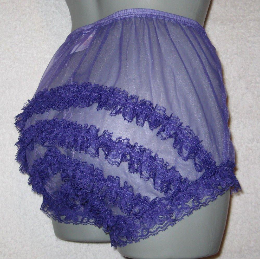 CD ULTRA SHEER GIRLY VINTAGE STYLE  PURPLE  PANTIES  PANTIES M-L-XL