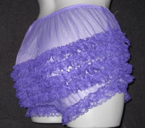 GIRLY ULTRA SHEER PURPLE  RUFFLE  SISSY SILKY CHIFFON  PANTIES M-L-XL
