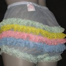 SHEER RUFFLE FRILLY LACEY RAINBOW BLUE SISSY CHIFFON  PANTIES M-L-XL