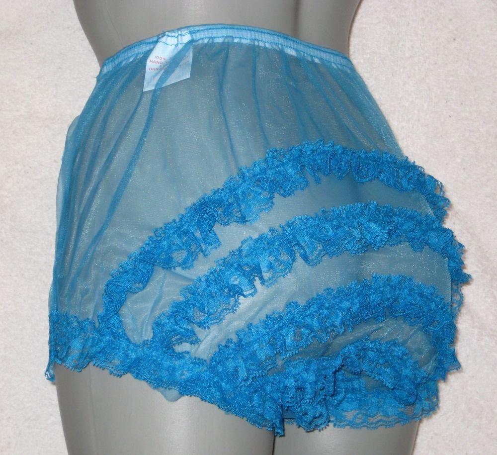 SHEER RUFFLE  FRILLY LACEY PEACOCK  BLUE SISSY CHIFFON  PANTIES M-L-XL