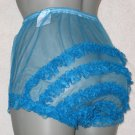 SHEER RUFFLE  FRILLY LACEY PEACOCK  BLUE SISSY CHIFFON  PANTIES M-L-XL