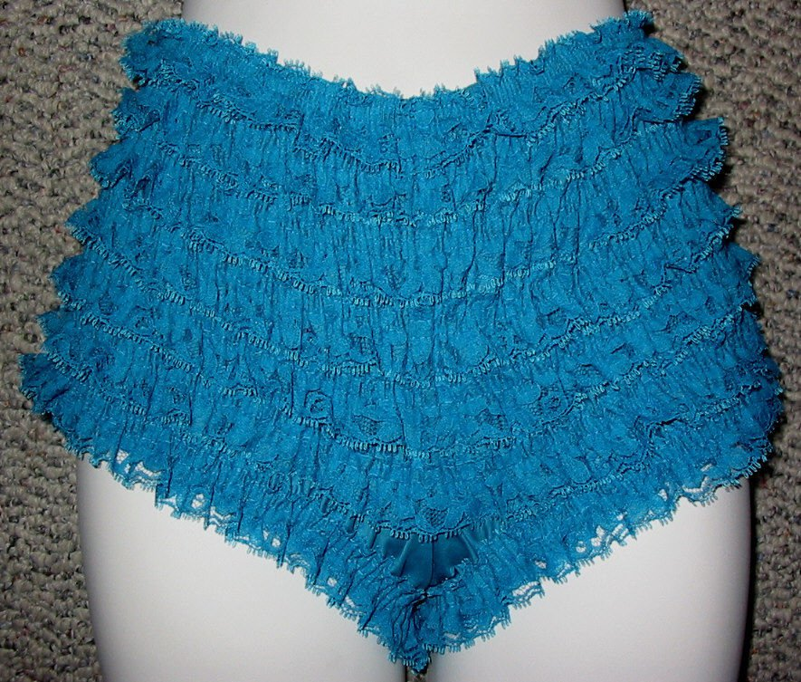 PEACOCK  SISSY FRILLY RUFFLE NYLON  BIKINI PANTIES WAIST-35 IN MED