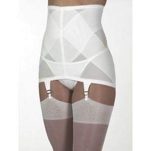 VINTAGE STYLE Firm Control White Open Bottom Girdle 6 Garters 4X  W- 38 INCH