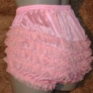 all nylon baby pink ruffle sissy lacy rhumba tennis panties  med -large xlge