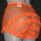 VINTAGE STYLE SHEER ORANGE NYLON SISSY RUFFLE  PANTIES  XXXL W-50""