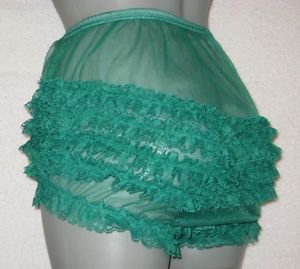 b VINTAGE STYLE SHEER  SISSY CAN CAN CHIFFON RUFFLE PANTIES M-L-xl