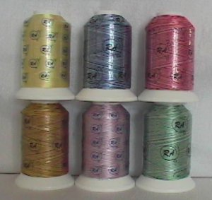 Robison-Anton Basic Variegated Rayon Machine Embroidery Thread Set (6 mini-king cones)