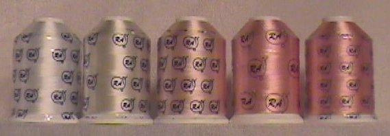 Robison-Anton Flesh/White Rayon Machine Embroidery Thread Sets (5 mini-king cones, 1000 meters)