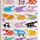 Mind Wave Colorful Hippos Hard Epoxy Sticker Sheet