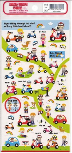Mind Wave Guy on Scooter with Best Friends Sticker Sheet