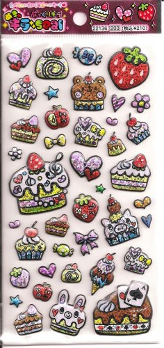 Q-Lia Cakes, Animals, and Hearts Sparkly Puffy Sticker Sheet