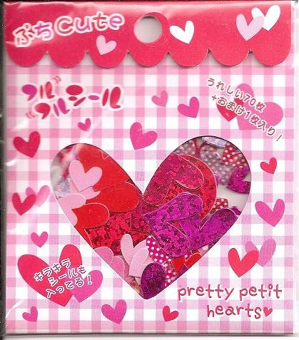 Q-Lia Red and Pink Hearts Sticker Sack