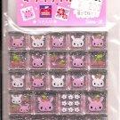 San-X Pink Bunnies, Cherries, and Flowers Glittery 3D Blocks Sticker Sheet