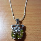 Silver Plated Owl with Green Stones Necklace