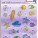 Morning Glory Ocean Fish and Squid Glittery Mini Sticker Sheet