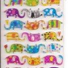 Mind Wave Colorful Elephants Hard Epoxy Sticker Sheet