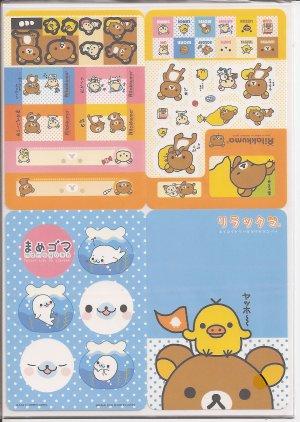 San-X Rilakkuma Bear, Mamegoma, and Friends Jumbosealdass Sticker Booklet #13