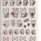 Point Inc. Pink and White Bunnies Sticker Sheet