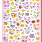 Q-Lia Sweet Colorful Bunnies and Fruits Hard Epoxy Sticker Sheet
