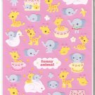 Mind Wave Funny Animal Baby Elephants and Giraffes Fabric Sticker Sheet