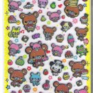 Q-Lia Pink and Brown Bears with Desserts Hard Epoxy Sticker Sheet