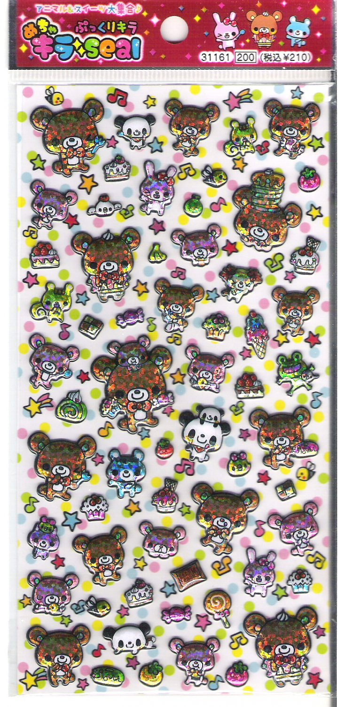 Q-Lia Bears, Pandas, and Desserts Shiny Puffy Sticker Sheet