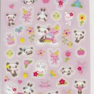 Crux Panda and Bunnies with Flowers Pink Sticker Sheet