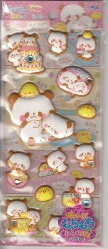 Crux Mogu Mogu Panda and Friends Puffy with Rhinestones Sticker Sheet