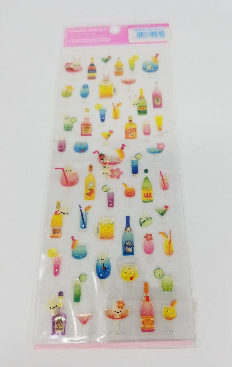 Kamio Bunnies with Alcoholic Candy Cocktails Sticker Sheet