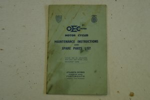 O E C Motor Cycles Maintenance Instructions & Spare Parts List