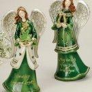 Porcelain Irish Angels Set/2 w/Shamrock Horseshoe - 42362
