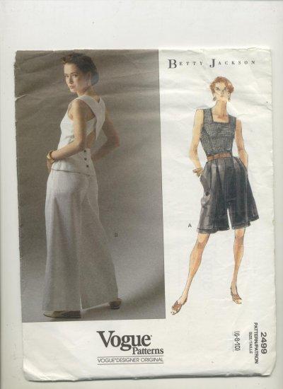 Vogue Sewing Pattern #2499 Betty Jackson Top, Wide Leg Shorts & Flared Pants