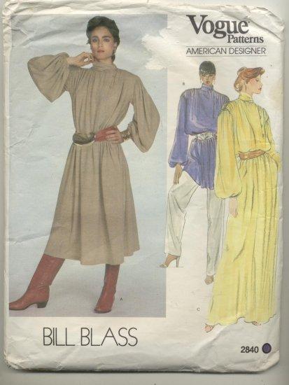 Vogue Designer Sewing Pattern Bill Blass #2840 Great Tunic Dress
