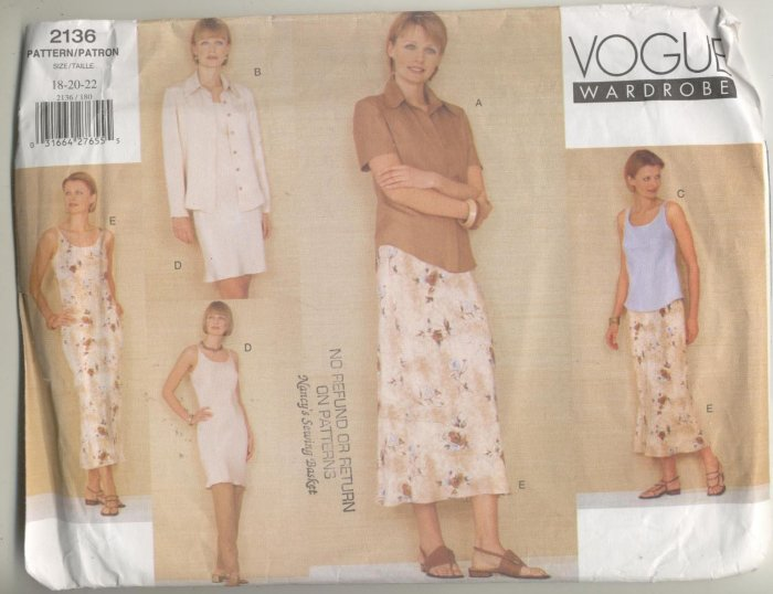 Vogue  Wardrobe Sewing Pattern #2136 Sizes 18-20-22