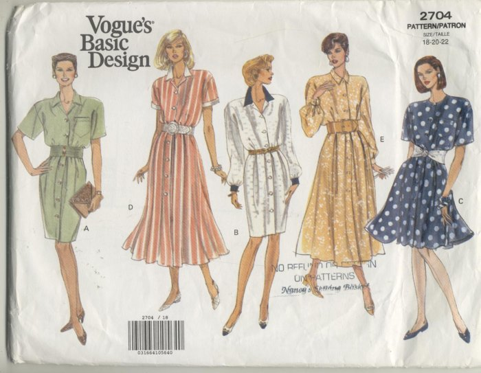Vogue Basic Design Sewing Pattern 5 Dresses #2704 Sizes 18-20-22