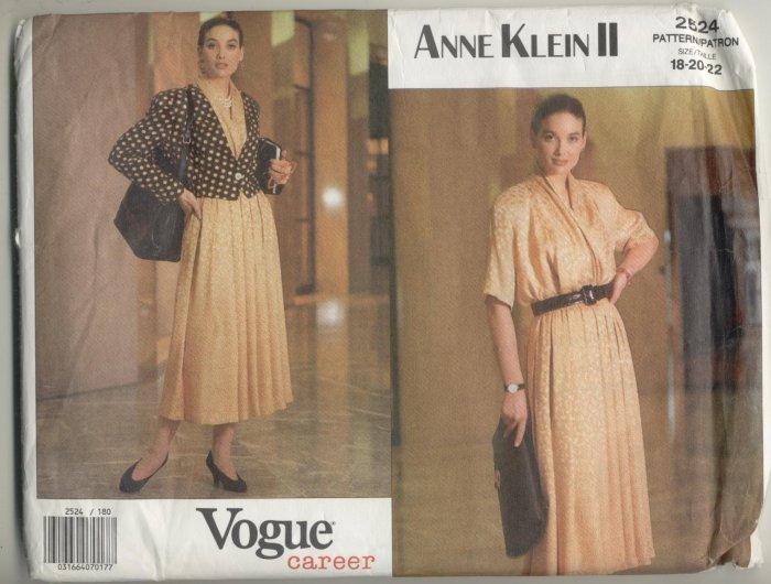 Vogue Career Anne Klein Sewing Pattern #2524 Sizes 18-20-22
