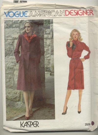 Vogue American Designer Kaspar Sewing Pattern Coat & Dress #2559 Size 16