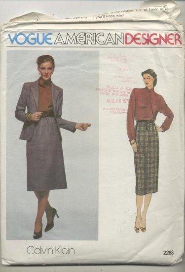 Vogue American Designer Calvin Klein Sewing Pattern Jacket, Blouse & Skirt #2283 Sizes 16