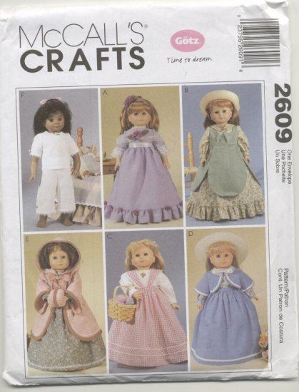 "McCall's  Sewing Pattern #2609 18"" Gotz Doll Wardrobe 6 Outfits"