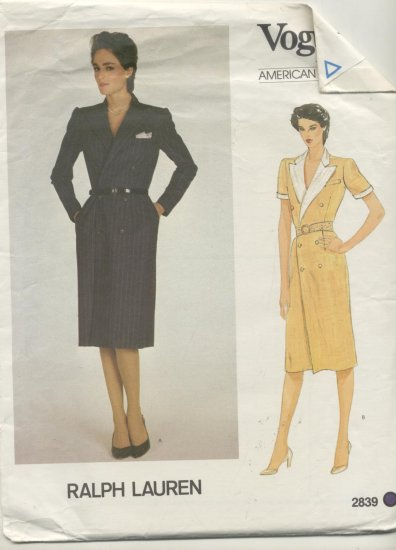 Vogue American Designer Ralph Lauren Sewing Pattern Double Breasted Dress #2839 Size 16