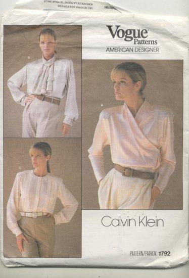 Vogue American Designer Calvin Klein Sewing Pattern Blouses #1792 Sizes 16