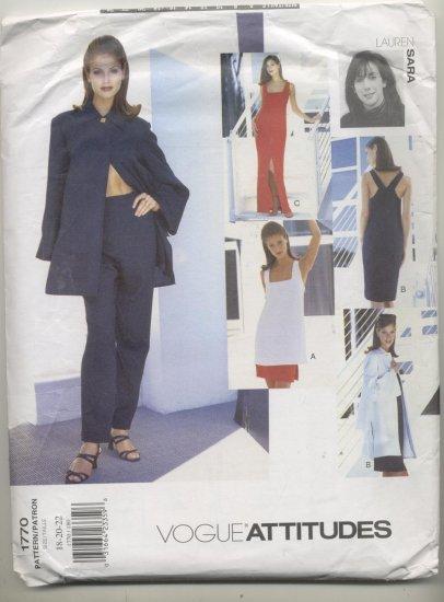 Vogue Attitudes Lauren Sara Sewing Pattern Dress, Jacket,Skirt,Tunic & Pants #1770 Sizes 18-20-22