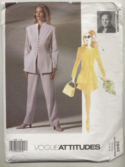 Vogue Attitudes Carmelo Pomodoro Sewing Pattern Jacket,Skirt & Pants #2845 Sizes 14-16-18