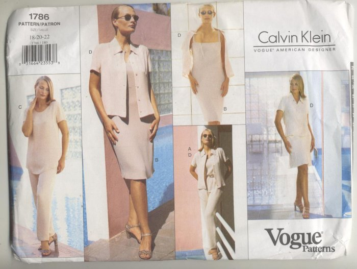 Vogue Designer Calvin Klein Sewing Pattern Camisole, Tunic, Skirt & Pants #1786 Sizes 18-20-22