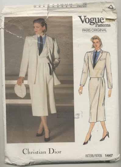 Vogue Paris Original Christian Dior Sewing Pattern Coat, Wrap Skirt & Jacket #1447 Size 16