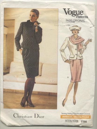 Vogue Paris Original Christian Dior Sewing Pattern Jacket & Skirt #2366 Sizes 6-8-10