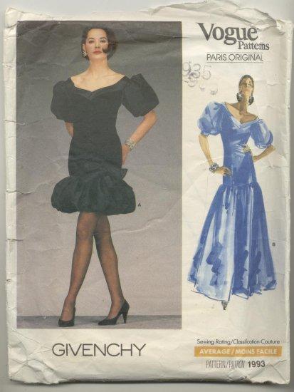 Vogue Paris Original Givenchy Sewing Pattern Dress #1993 Size 6
