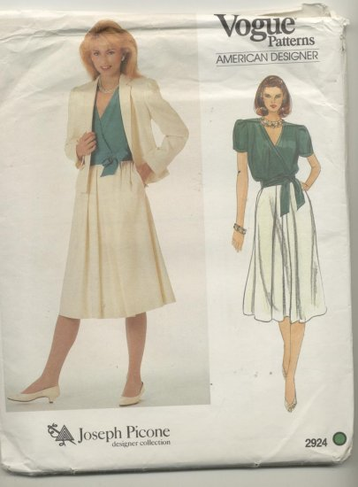 Vogue American Designer Joseph Picone Sewing Pattern Jacket, Blouse & Skirt #2924 Size 16
